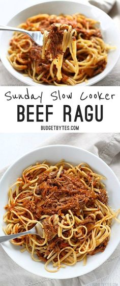 Sunday Slow Cooker Beef Ragù is freezer ready and features shredded beef in a deep savory tomato sauce.