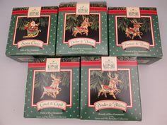 Hallmark 1992 Santa and His Reindeer 5-ornament set in boxes promotional items