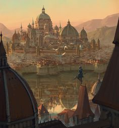 Kid's posthumous by SiChen Wang on ArtStation. - Views and inspiration - Architektur Fantasy City, Fantasy Castle, Fantasy Kunst, Fantasy Places, Medieval Fantasy, Sci Fi Fantasy, Fantasy World, Fantasy Art Landscapes, Fantasy Landscape