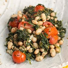 Sautéed Spinach with Grape Tomatoes and White Beans recipe