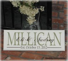 Shabby Chic Wedding Sign Personalized Sign by ShabbyAbbysAttic