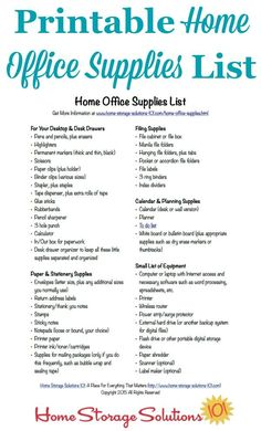 Free Printable Home Office Supplies List | Best Office supplies ...