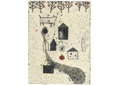 Kumi Obata / I Need an Apple to Start Upon My Journey / 旅立つにはりんごがひとつ必要だ / 250×185mm / Bologna Children's Book Fair 2009入選