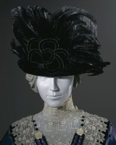 Mourning Hat, Crocker Mourning Store (Massachusetts, Boston): 1910-1915, velvet and feathers. LACMA Collections Online