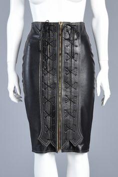 90s Jean Paul Gaultier Bondage Leather Skirt w/Corset Front | BUSTOWN MODERN