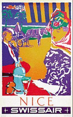 Vintage Travel Poster - Nice - France - by Henri Ott - Swissair). Retro Poster, Poster Ads, Poster Prints, Salvador Dali, Maurice Utrillo, Promenade Des Anglais, Travel Sights, Airline Travel, Pub