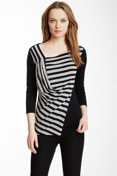 9093eb5c72f WANT WANT WANT... Vince Camuto Sportswear 3 4 Sleeve Striped Draped Tee. Nordstrom  Rack