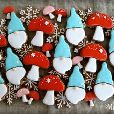 by Melissa Joy Fanciful Cookies Santa Cookies, Valentine Cookies, Iced Cookies, Cut Out Cookies, Cupcake Cookies, Christmas Cookies, Frosted Cookies, Christmas Foods, Christmas Gnome