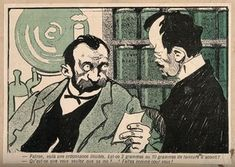 An apothecary tells a drug addict to fill in his own prescription. Colour photomechanical reproduction of a lithograph, c. 1900. | Wellcome Collection