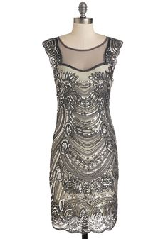 Deco-dent Evening Dress. A lavish event calls for an equally exquisite frock, which youve found in this embellished dress! #grey #modcloth