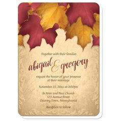 Autumn wedding invitations in a burgundy and gold color scheme. The top has a burgundy red and yellow gold leaves design over an elegant rustic gold background.