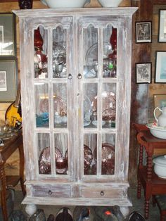 Antique China Cabinet Curio Display distressed furniture, $750