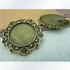 6X 25mm Bronze Round Cameo Setting Charm Y670
