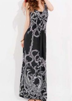 Bohemian V Neck Maxi Dress with Print for Lady