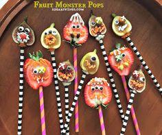 Serve Some: Fruit (Fig & Strawberry) Halloween Monster Pops Creative Desserts, Healthy Desserts, Dessert Recipes, Monster Themed Food, Strawberry Halloween, Fig Dessert, Edible Crafts, Food Themes, Good Food