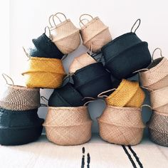 Hello new SEAGRASS Belly Baskets now in Turmeric Black Ziggy Online available in store at @assemblylabel @theborrowednursery @smallstall @golosi_food_emporium @_fleurus_ @thecollectiveconcept stores x by dos_ombre