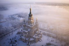 Saints Peter & Paul Cathedral rising through winter mist.
