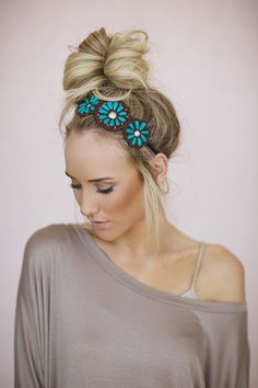 Beaded Floral Headpiece, Bohemian Seed Bead Applique Headband, Flower Hairband with Turquoise Beading and Elastic (HB-185) on Etsy, $28.00