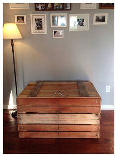 Storage Tack Trunk made with repurposed Pallet Boards, hinged in back with zinc-coated hardware, for indoor or outdoor use Pallet Boards, Pallet Art, Pallet Crates, Old Pallets, Wooden Pallets, Storage Trunk, Diy Storage, Patio Storage, Pallet Storage