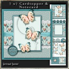 Cardtopper in love with butterflies blue 273 on Craftsuprint - View Now!