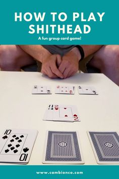 Shithead is card game for 2-6 players. Be the first to finish all your cards or else you're the shithead! One Player Card Games, Card Games For One, Group Card Games, 2 Person Card Games, Family Card Games, Fun Card Games, Playing Card Games, Dice Games, Activity Games