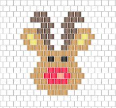 Motif Rudolphe le renne de Noël en tissage brick stitch
