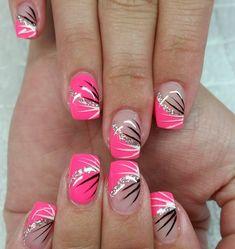 #fingernägel #gelnägel #neonnails #neon Melon #silber #glitzer #striche #NAILDESIGNS # - carmenirmscher
