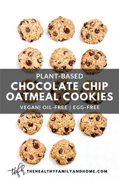 This healthy plant-based Gluten-Free Vegan Chocolate Chip Oatmeal Cookies recipe is an easy flourless cookie recipe made with clean, real food ingredients that you can feel good about eating. You'll love how they're made without eggs, butter, white flour or white sugar! { The Healthy Family and Home } #cookies #vegan #glutenfree #oatmeal #chocolatechip #healthy Flourless Dessert Recipes, Vegan Baking Recipes, Healthy Vegan Desserts, Egg Free Recipes, Clean Eating Desserts, Oats Recipes, Real Food Recipes, Oatmeal Chocolate Chip Cookies, Different Recipes