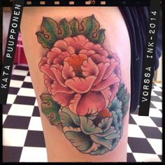 https://www.facebook.com/VorssaInk, http://tattoosbykata.blogspot.fi, #tattoo #tatuointi #katapuupponen #vorssaink #forssa #finland #traditionaltattoo #suomi #oldschool #peony