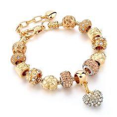 Luxury Crystal Heart Charm Bracelets Bangles Gold Color Bracelets For Women Jewelry