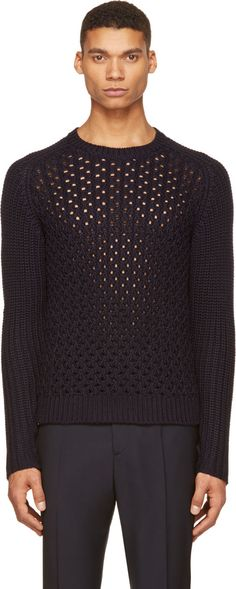 Neil Barrett - Dark Navy Plaited Knit Crewneck Sweater Crewneck Sweater, Men  Sweater, Neil 831e6d7e772