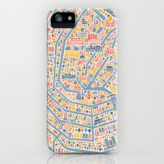 Amsterdam City Map Poster iPhone & iPod Case by Vianina - $35.00