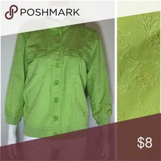 "Christopher Banks Lime Green Jacket Embroidered Pre Owned in good condition.  Has 2 pockets in the front and Floral detailed that is embroidered  please look at the pictures to look at details.    Size: Medium  Measurements Laying Flat Chest: 20.5"" Length: 23"" Sleeve: 18.5""  Materials 55% Cotton 45% Polyester Christopher & Banks Jackets & Coats"