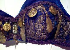 Lapis Blue & Gold Tribal Bellydance Bra