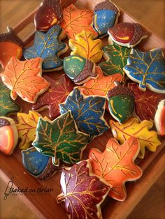 Fall Leaves & Acorn Cookies | by Baked on Briar