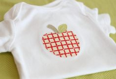 PATTERN apple onesie applique by limetreedesigns on Etsy, $1.50