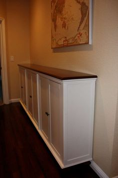 Hall console storage from 3 Ikea Hemnes desktop pieces, table legs, and a board for the top