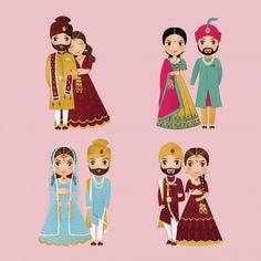 Indian Wedding Invitation Cards, Wedding Invitation Card Design, Wedding Cards, Wedding Invitations, Bride And Groom Cartoon, Wedding Couple Cartoon, Portrait Cartoon, Creative Background, Birthday Background