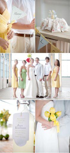 Nice ideas for Summer wedding! Lemon theme! Who doesn't like Lemonade? this is pretty
