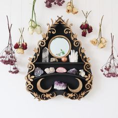 We make crystal shelves in all different shapes and sizes incorporating spiritual symbols and sacred geometry to allow you to create a magical sacred space in your home! Ouija, Goth Home Decor, Diy Home Decor, Spiritual Decor, Spiritual Symbols, Crystal Shelves, Witch Decor, Oak Stain, Witch House