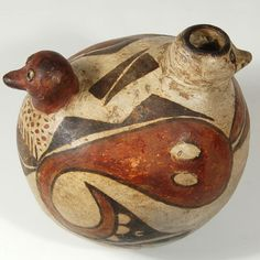 "#adobegallery - Laguna Pueblo Double Headed Bird Effigy Jar.  Category: Historic Origin: Laguna Pueblo Medium: clay, pigment Size: 5-1/2"" height x 5-1/2"" diameter Item # C3776C"