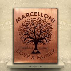 Wedding Gift 7 Year Anniversary : Tree Custom Tin Sign 10 or 7 Year Seven 7th Anniversary Wedding Gift ...