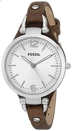 Fossil Women's ES3060 Georgia Three Hand Tan Leather Strap Watch. Go to the website to read more description.