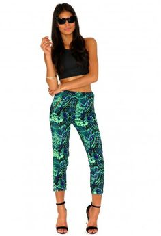 Heloise Jungle Print Tapered Trousers http://www.missguided.co.uk/catalog/product/view/id/73633/s/heloise-jungle-print-tapered-trousers/category/640/ #Fashion #Trousers #Summer #SS13 #Print #Aztec #Green #Neon
