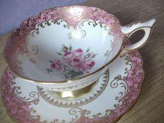 Antique pink tea cup set, vintage Royal Stafford English tea cup set, pink roses bone china tea set