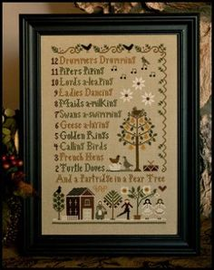 12 days of christmas is the title of this cross stitch pattern from little