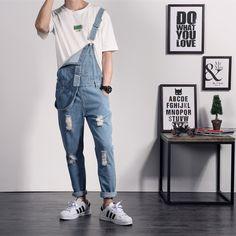 30f20cc57 Nova Marca de Verão Casual Cor Sólida Azul Denim Suspensórios Calças  Macacões Macho Calça Jeans Macacão