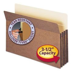 3 1/2 Accordion Expansion File Pocket, Straight Tab, Lgl, Manila/Redrope, 50/Bx  Manage bulky files with these sturdy file pockets. 6 1/2 high gussets are reinforced at top with rollover Tyvek® strip to make them virtually tear-proof. Back of pocket lined with 11 pt. Manila stock for added strength and easy identification of subject heading. Bottom and sides fully enclosed. This product was made using wood sourced from a certified managed forest. ""