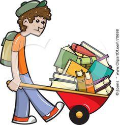 A Sad School Boy Pushing Tons Of Books In A Wheelbarrow