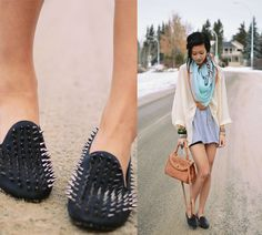 Offset an edgy pair of spiked loafers with sweet, drapey pastels and cozy layers. Photo courtesy of Lookbook.nu